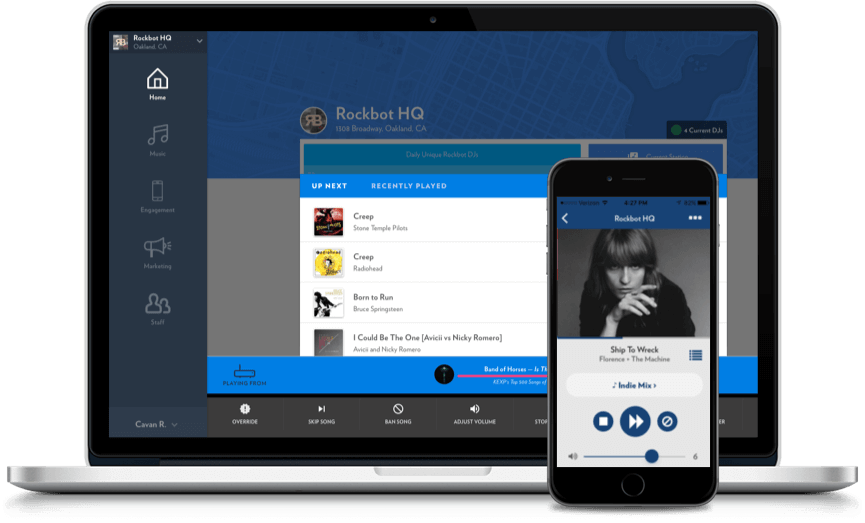 rockbot's music control dashboard for location management