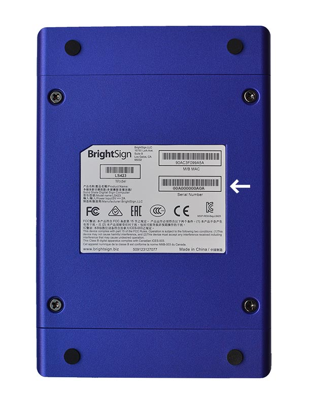 Brightsign Serial Number Location